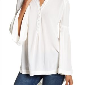 Free People White Bell Sleeve Button Boho Top